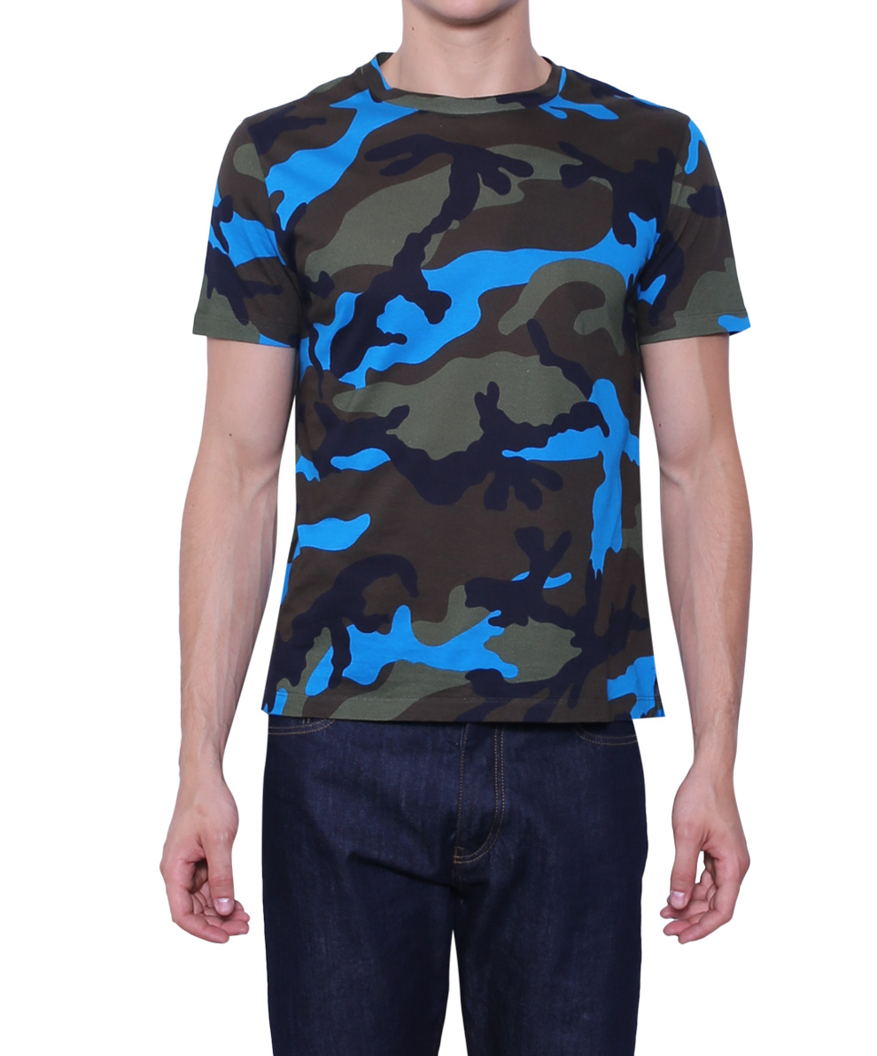 Valentino Camouflage Jersey T Shirt In Blue For Men Lyst