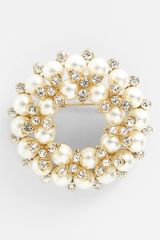 Anne Klein Faux Pearl Crystal Wreath Pin - Lyst