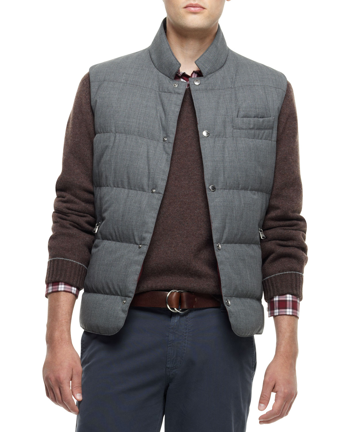 Lyst Brunello Cucinelli Snap Button Puffer Vest Gray