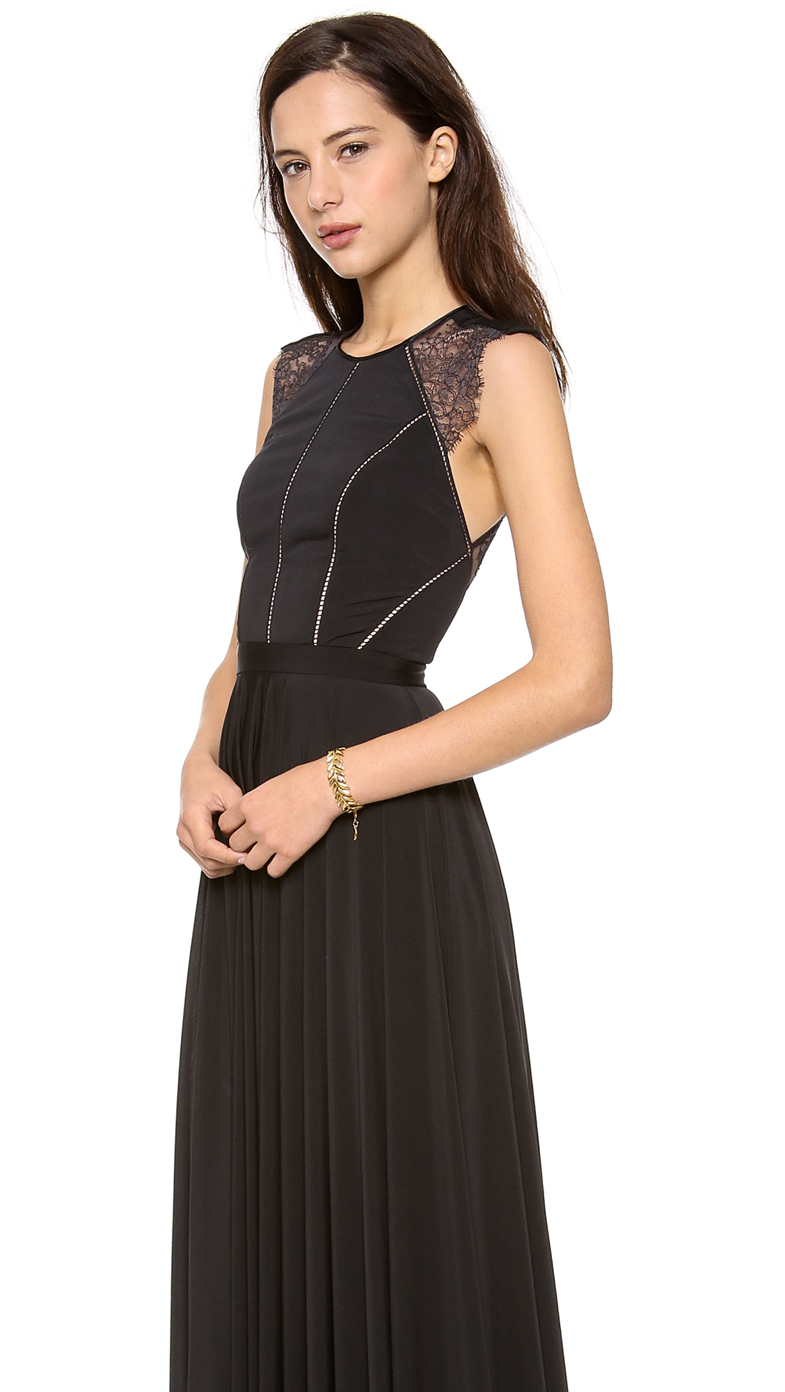 Lyst - Catherine Deane Simone Lace Back Gown in Black