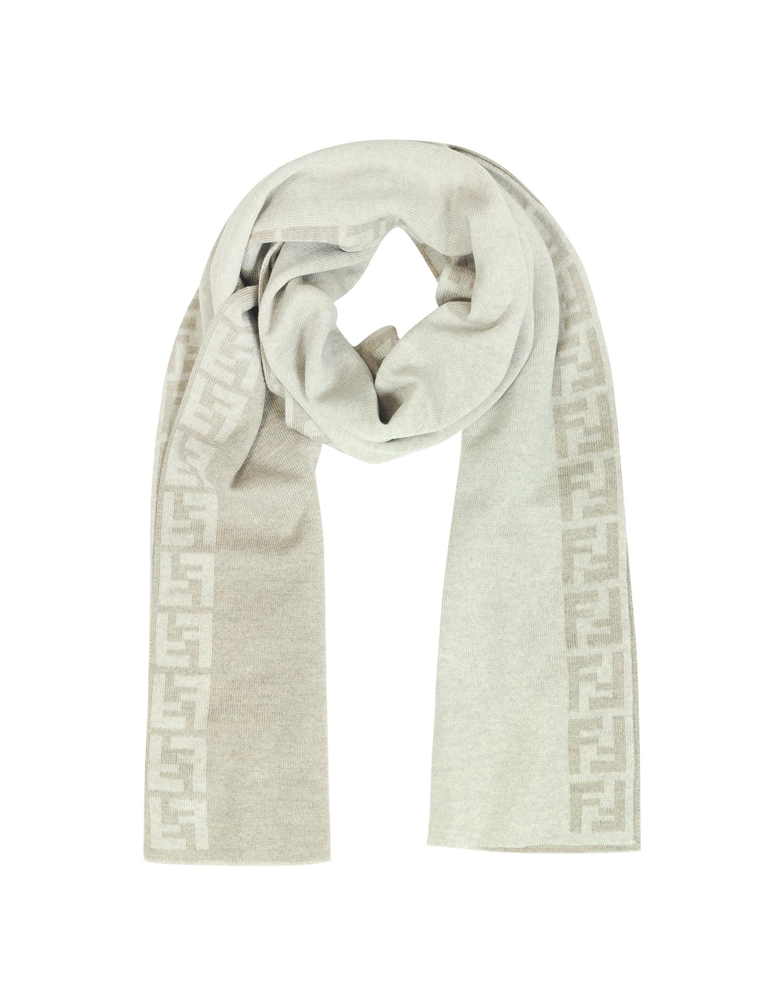 a95129266ff Lyst - Fendi Zucca Logo Ivory Wool Long Scarf in White