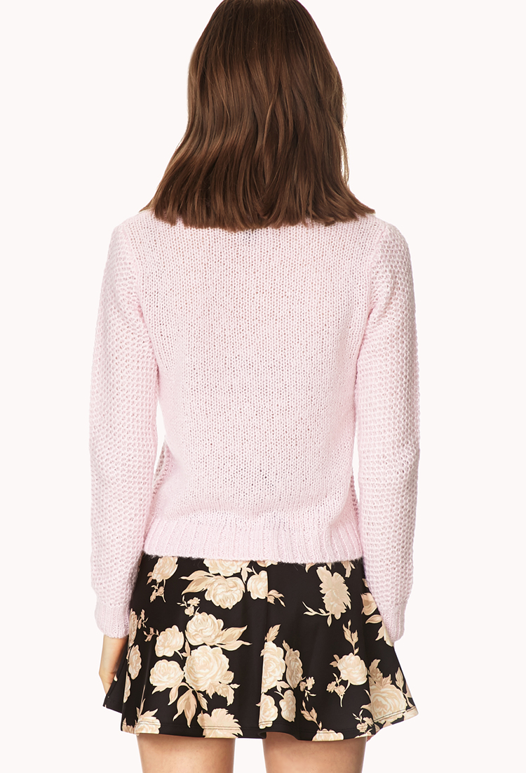 Lyst Forever 21 Soft Waffle Knit Sweater In Pink