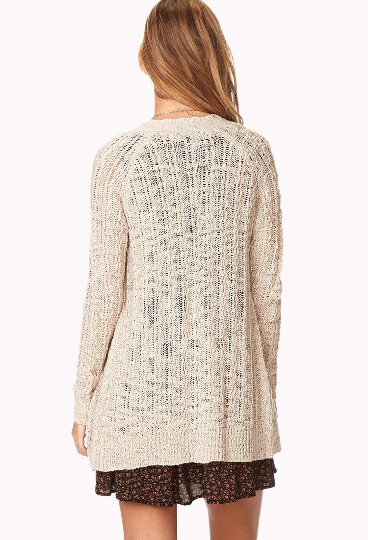 Forever 21 Soft Cable Knit Cardigan in Natural   Lyst