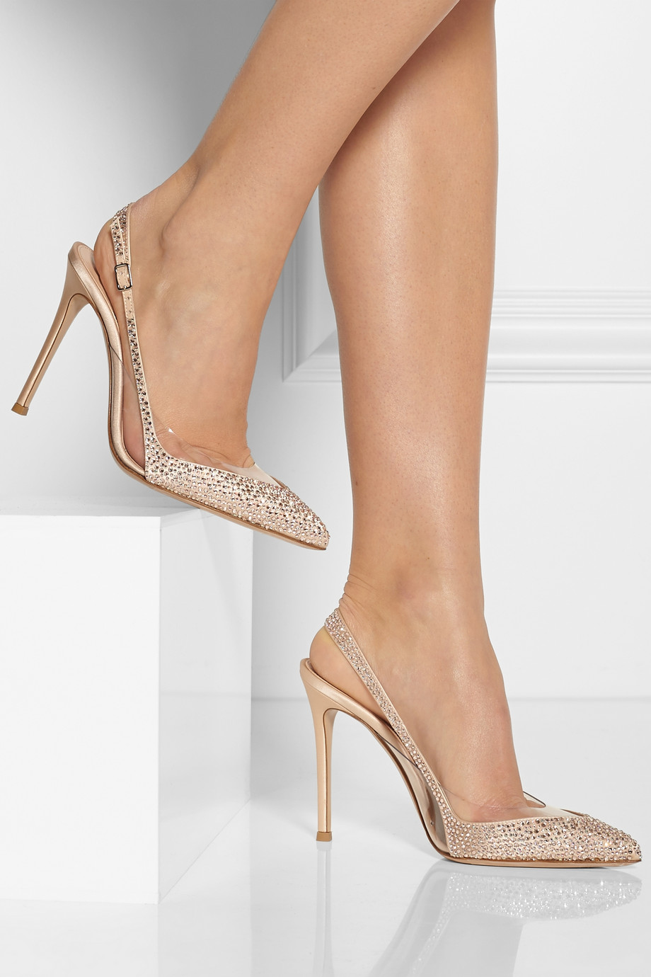 78bfe409f9e Lyst - Gianvito Rossi Embellished Satin and Pvc Slingbacks in Natural