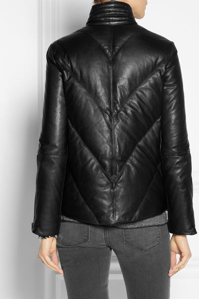 Helmut Lang Quilted Leather Down Coat In Black Lyst