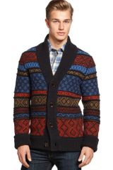Hugo Boss Boss Orange Pattern Shawl Collar Cardigan Sweater