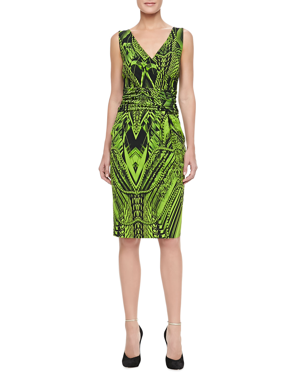 la petite robe di chiara boni sleeveless print step in cocktail dress in green lyst. Black Bedroom Furniture Sets. Home Design Ideas