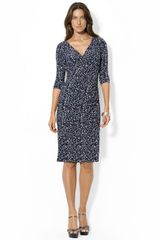 Lauren by Ralph Lauren Longsleeved Printed Jersey Dress - Lyst