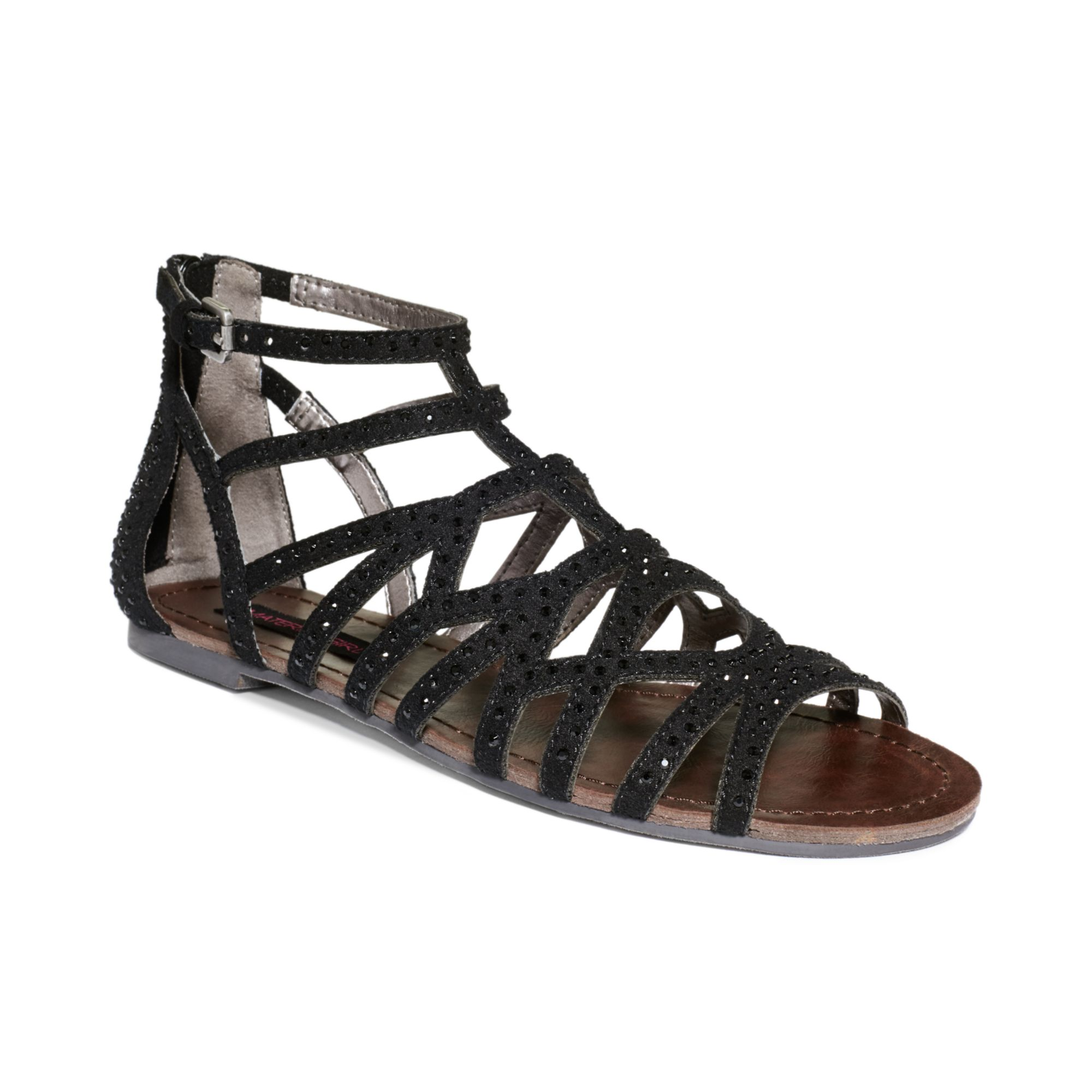 Material Girl Aries Gladiator Flat Sandals In Black Lyst