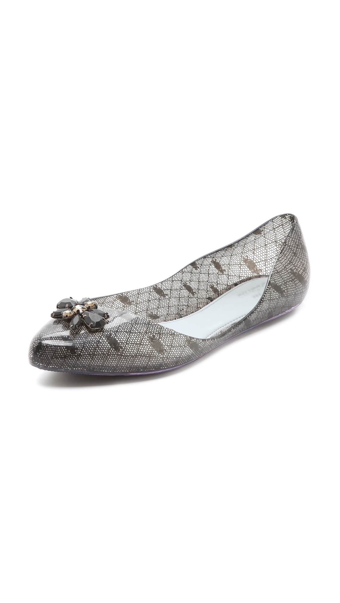 a8151f9c1dc Lyst - Melissa Trippy Jason Wu Lace Flats in Gray