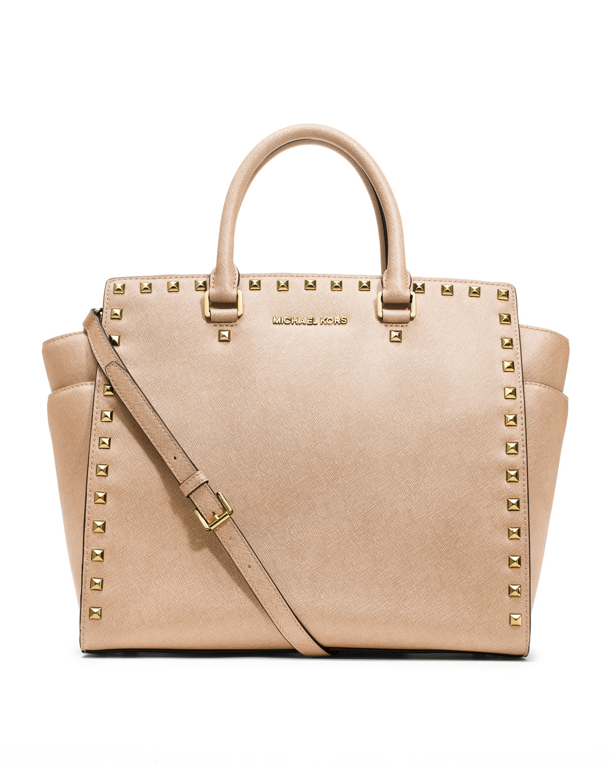 bc0282fac2 Lyst - MICHAEL Michael Kors Large Selma Studded Saffiano Tote in Natural