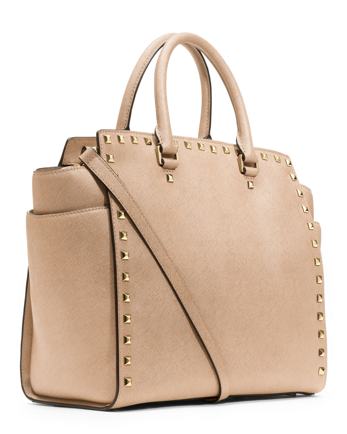 05f1d2acbe51 MICHAEL Michael Kors Large Selma Studded Saffiano Tote in Natural - Lyst