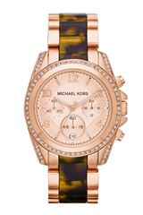 Michael Kors Midsize Rose Golden Stainless Steel Blair Chronograph Glitz Watch - Lyst