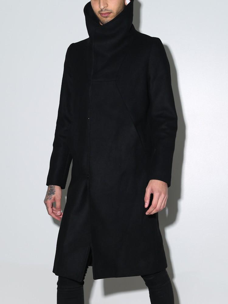 Lyst Oak Funnel Neck Coat Black In Black For Men