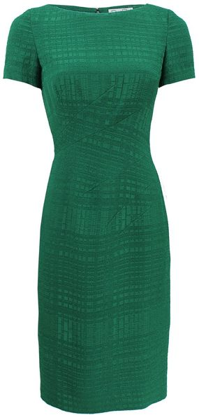 Oscar de la Renta Short Sleeve Bateau Neck Sheath Dress - Lyst