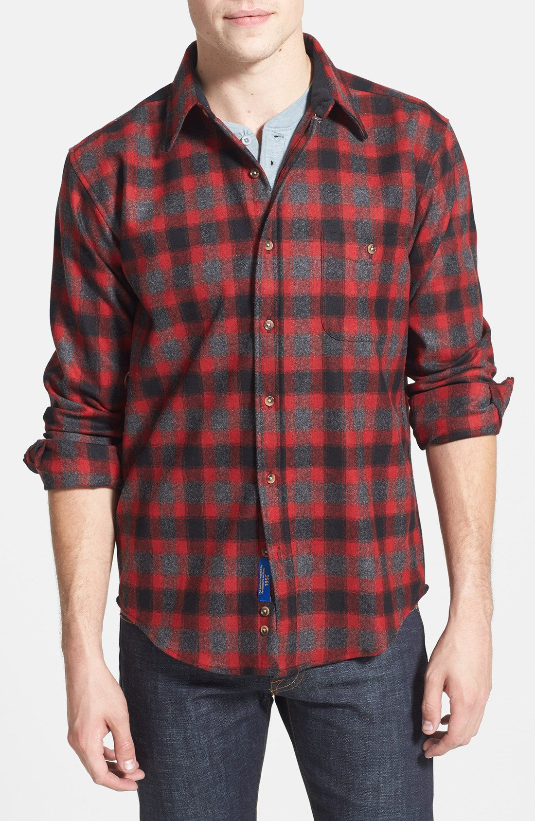 Pendleton Trail Fitted Plaid Wool Flannel Shirt In Red For