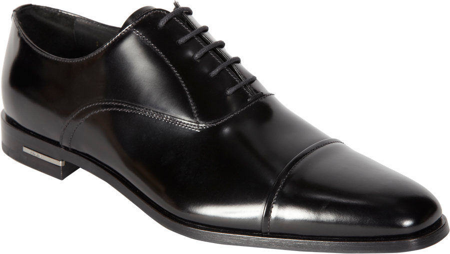47a019db8db Prada Cap Toe Balmoral in Black for Men - Lyst