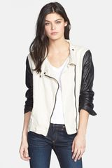 Rag & Bone Leather Sleeve Moto Jacket - Lyst