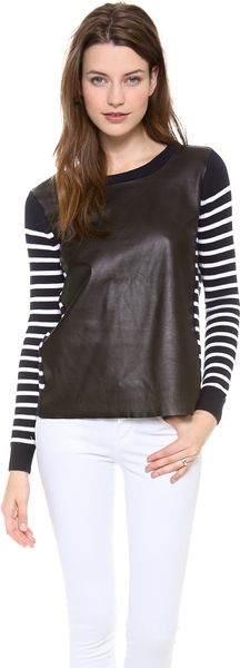Rebecca Minkoff Leather Inserted Striped Top - Lyst