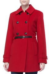 Sofia Cashmere Doublebreasted Club Coat with Leather Skinny Belt - Lyst