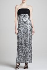 Sue Wong Strapless Gown with Allover Embellishment - Lyst