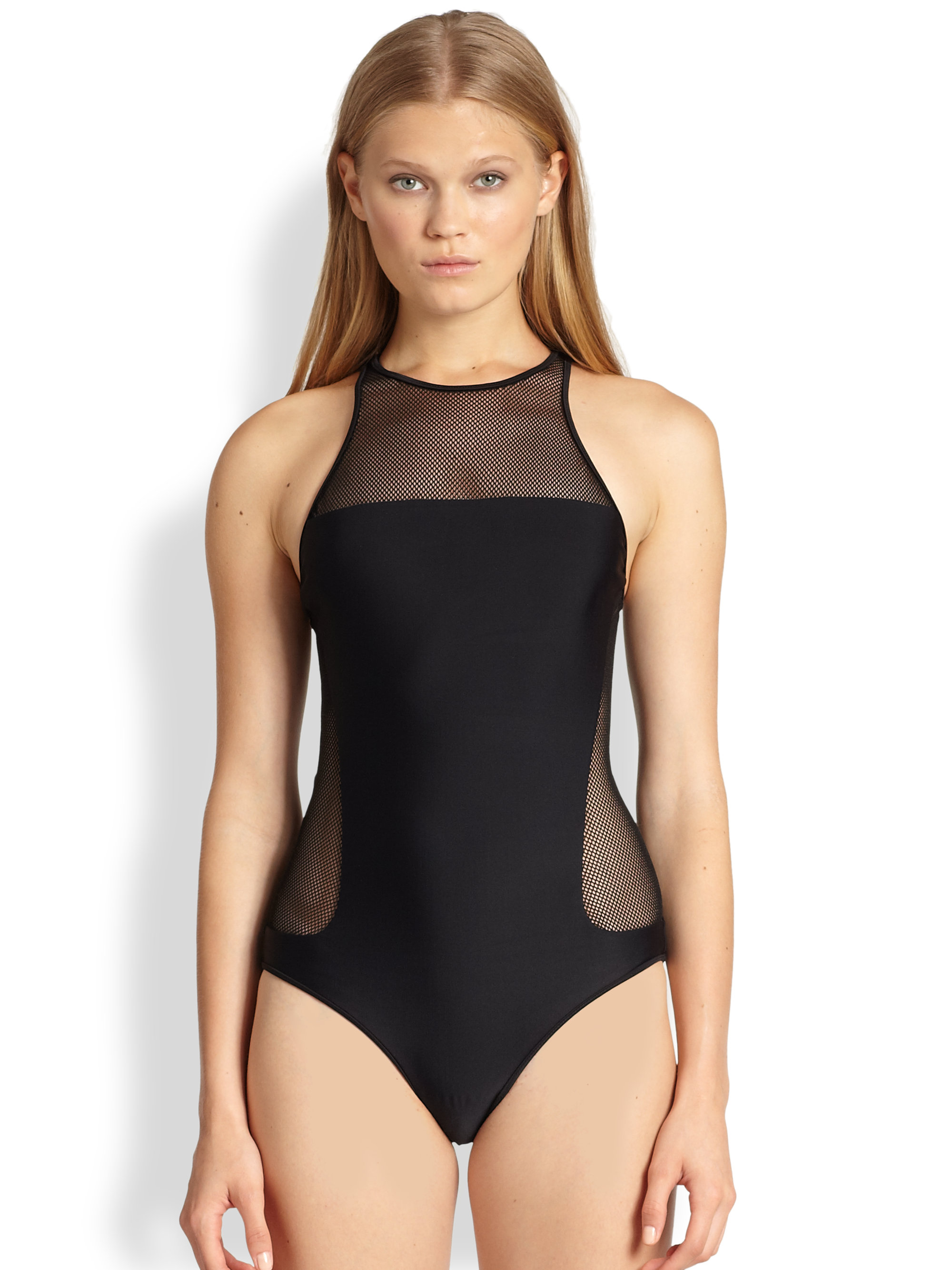 t by alexander wang mesh paneled racerback swimsuit in black lyst