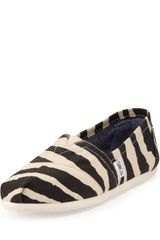 Toms Zebraprint Slipon Blackwhite - Lyst