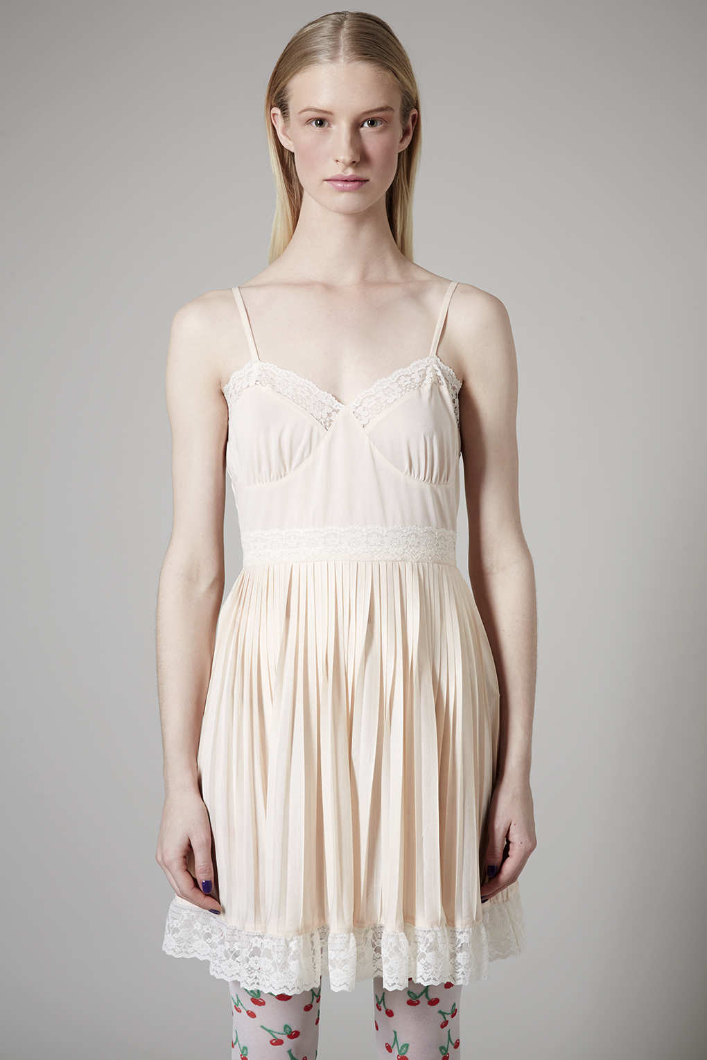 Topshop Pale Pink Slip Dress in White | Lyst