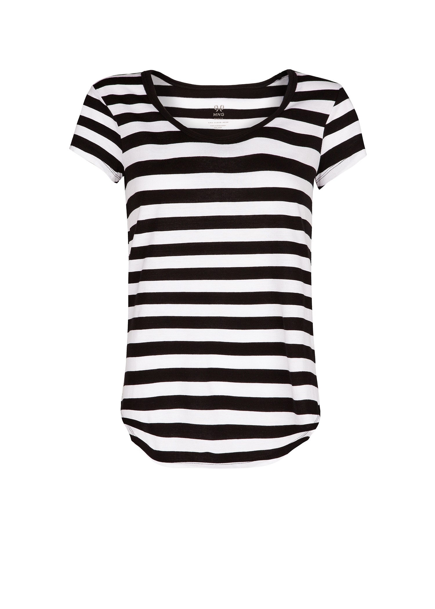 Mango striped cotton tshirt in white lyst Womens black tee shirt