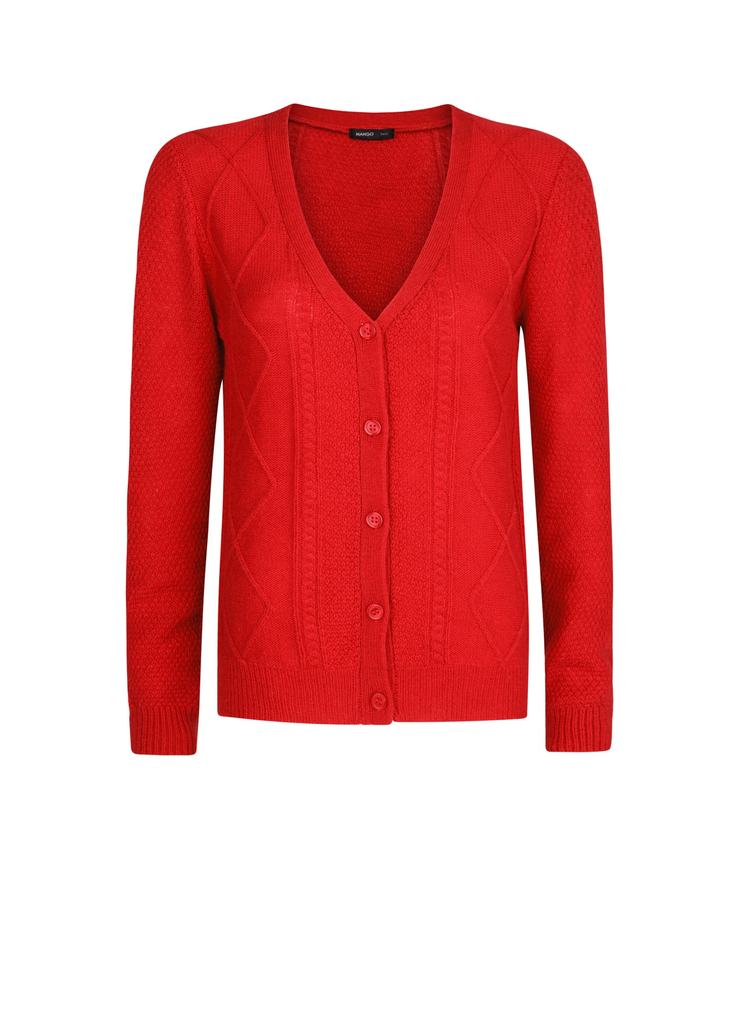 Mango Cable Knit V- Neckline Cardigan in Red | Lyst
