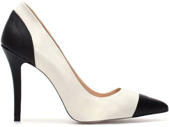 Zara Leather Two Tone High Heel Court Shoe - Lyst