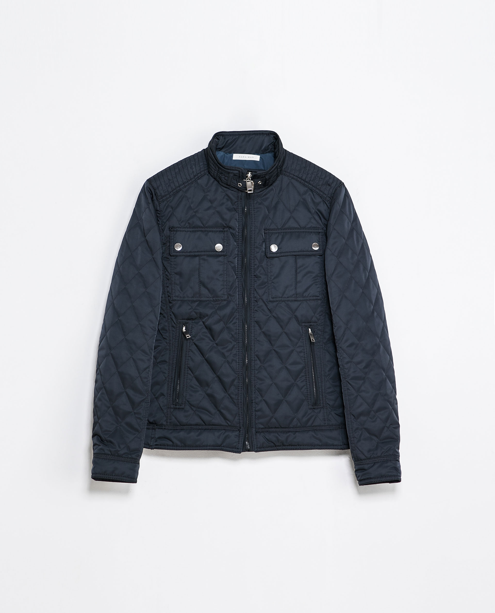 Zara Quilted Jacket In Blue For Men Navy Blue Lyst