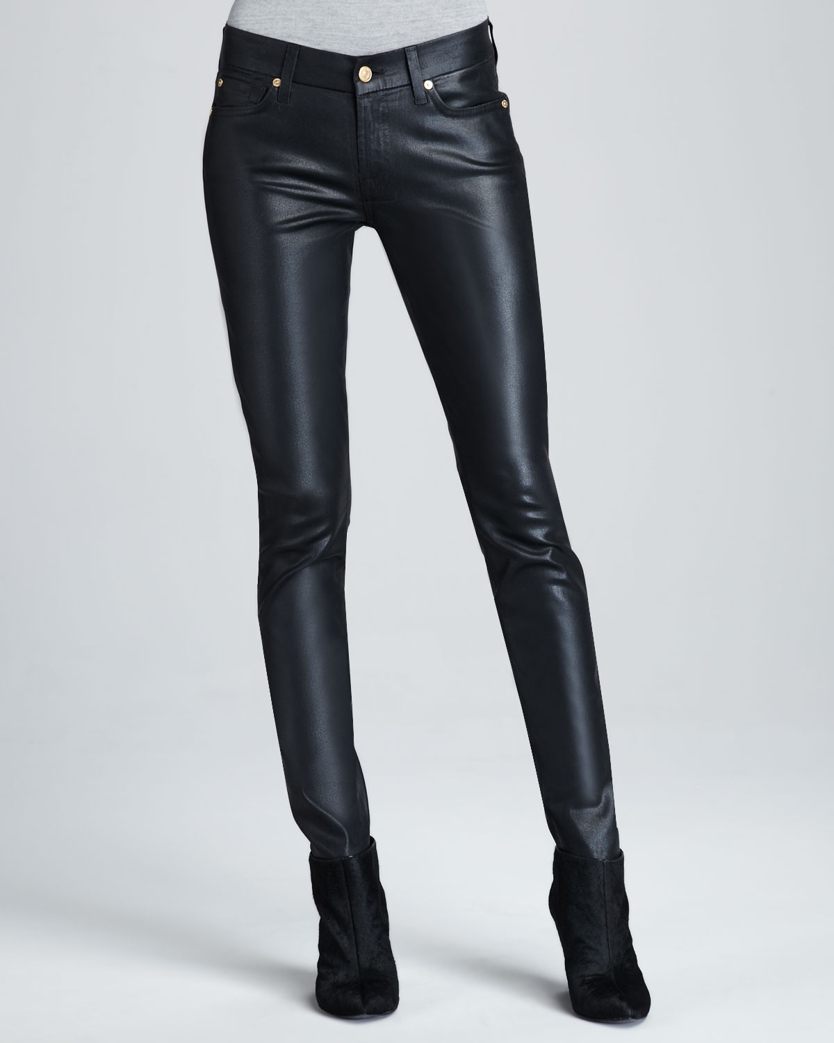 7 for all mankind skinny black high shine gummy jeans in black lyst