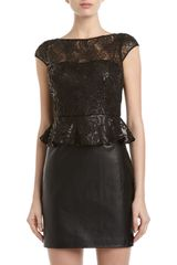 Aidan Mattox Sequin Mesh Peplum Dress  - Lyst