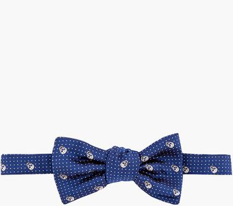 Alexander McQueen Navy Skull and Pin Dot Bow Tie - Lyst