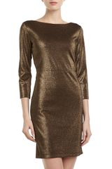 Alice + Olivia Alice Olivia Cutout Back Metallic Dress Black Gold - Lyst