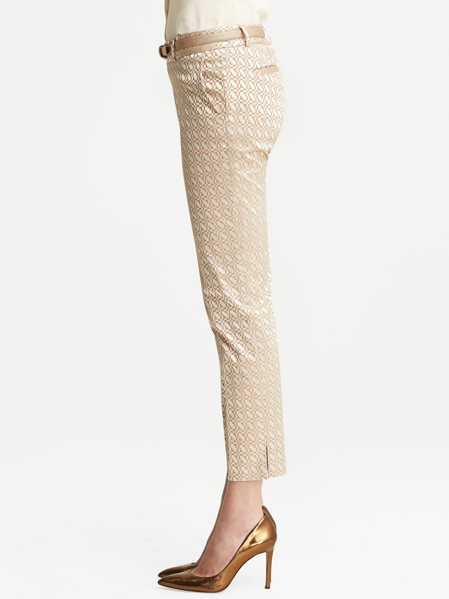 483ab58fb27f19 Banana Republic Camden Fit Beige Jacquard Ankle Pant Beige in ...