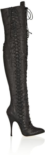 Brian Atwood Belle Python Over-The-Knee Boots - Lyst