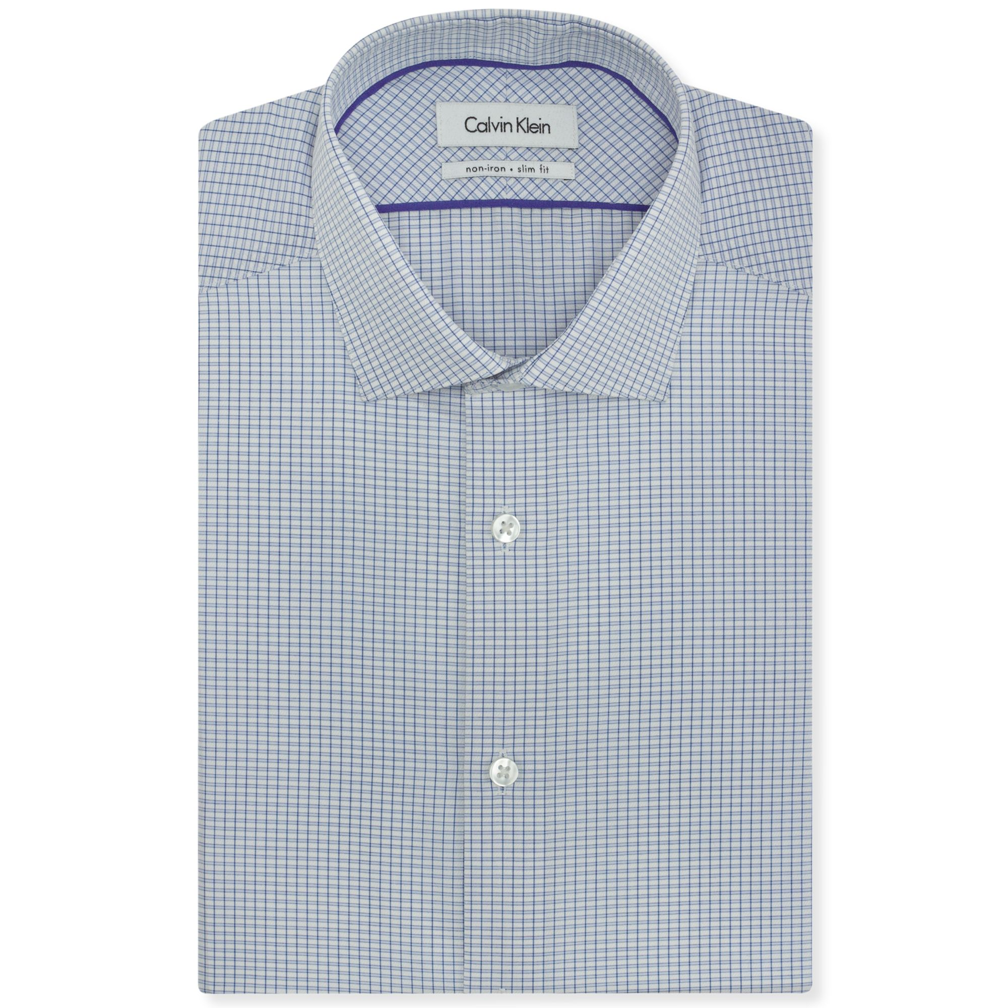 calvin klein steel blue front grid dress shirt in blue for