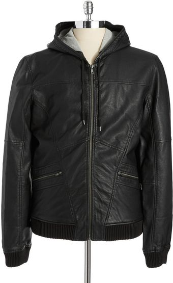 Calvin Klein Jeans Faux Leather Bomber Jacket - Lyst