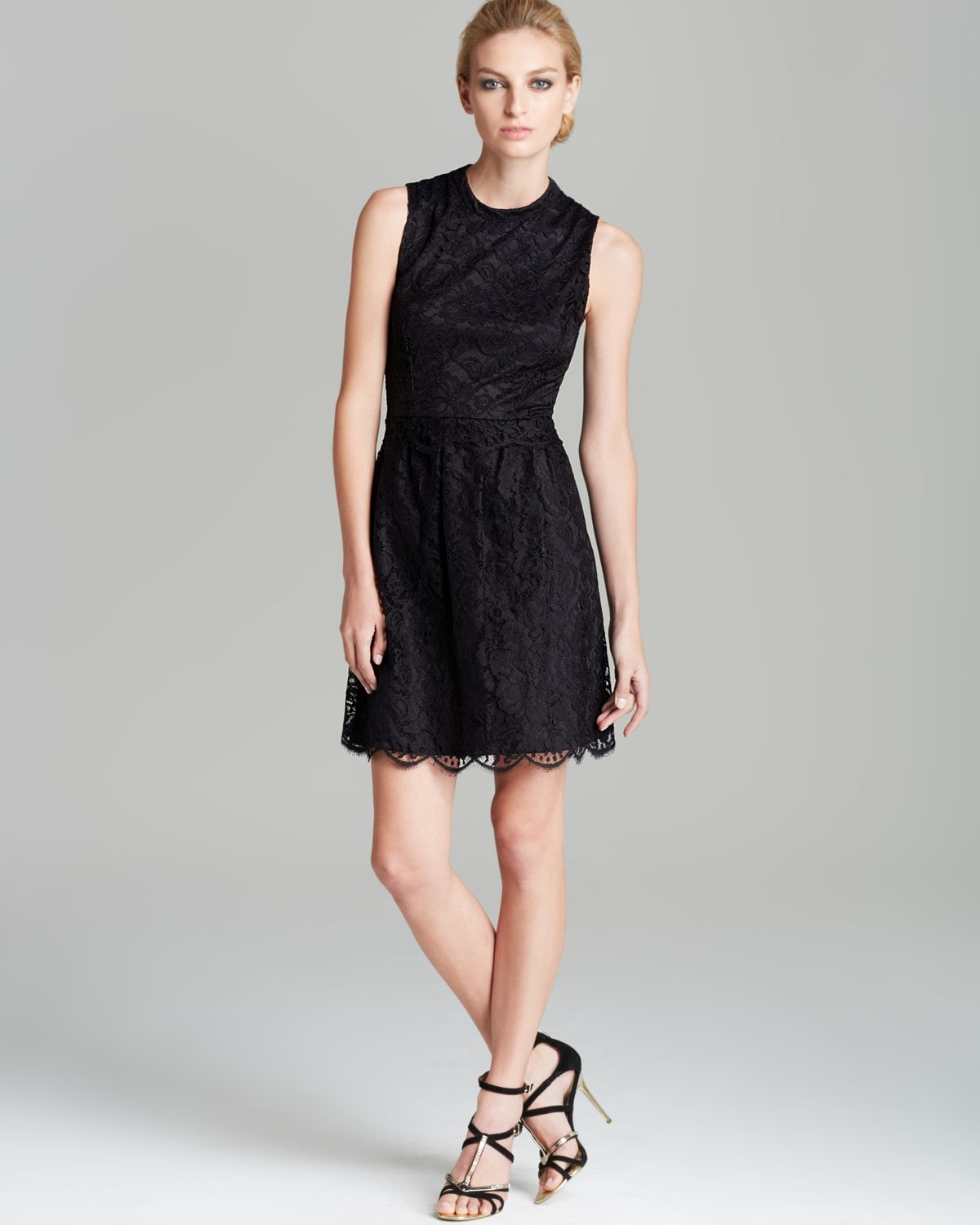 Black a line dress lace