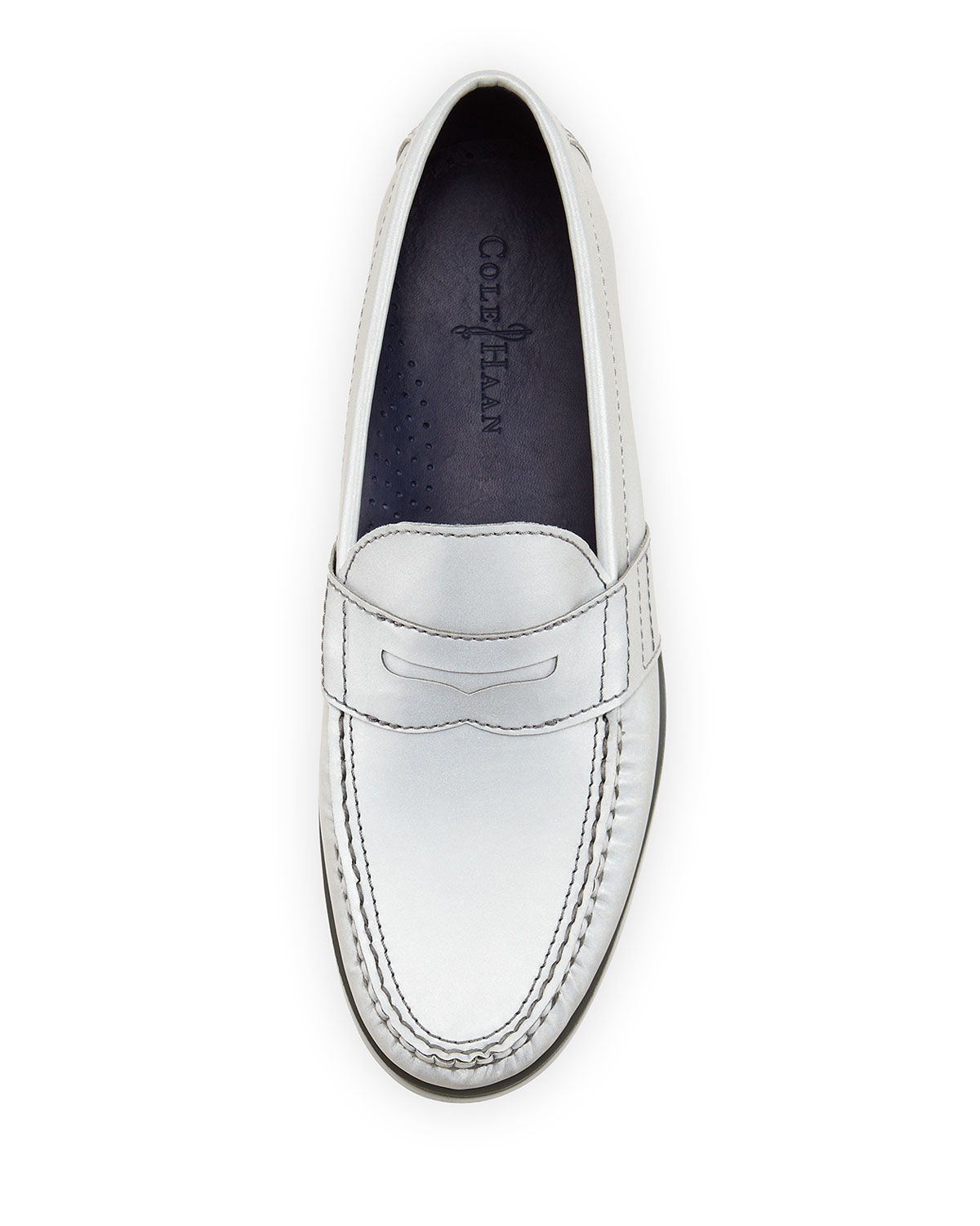 db350914f75 Lyst - Cole Haan Air Monroe Reflective Penny Loafer Silver in ...