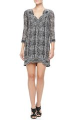 Diane Von Furstenberg Lexie Printed Scallopneck Dress Blackgraywhite - Lyst