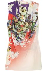 Etro Printed Cowl Neck Silk Crepe De Chine Top - Lyst