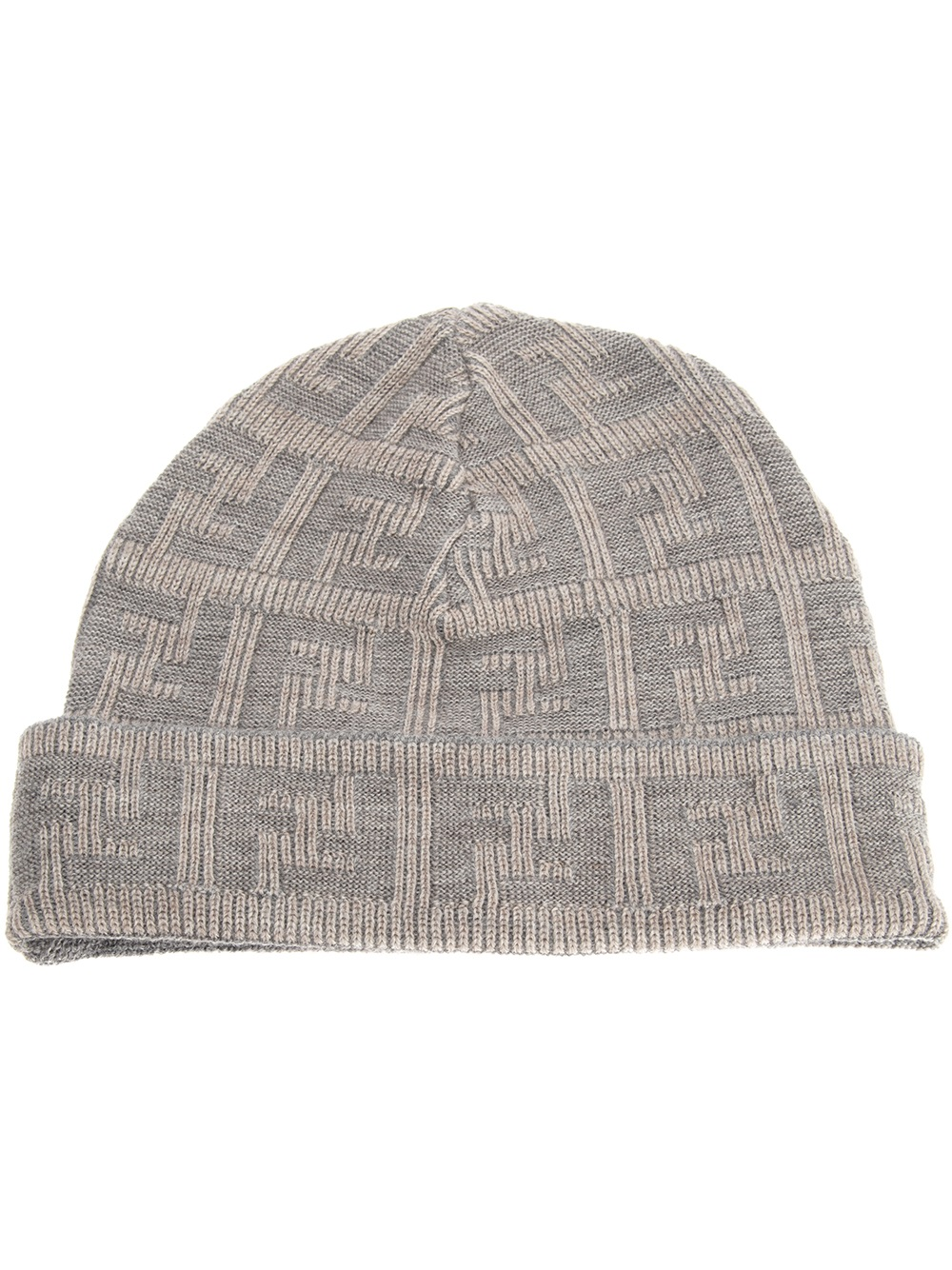 3f749d50f2f Fendi Jacquard Monogram Beanie in Gray for Men - Lyst