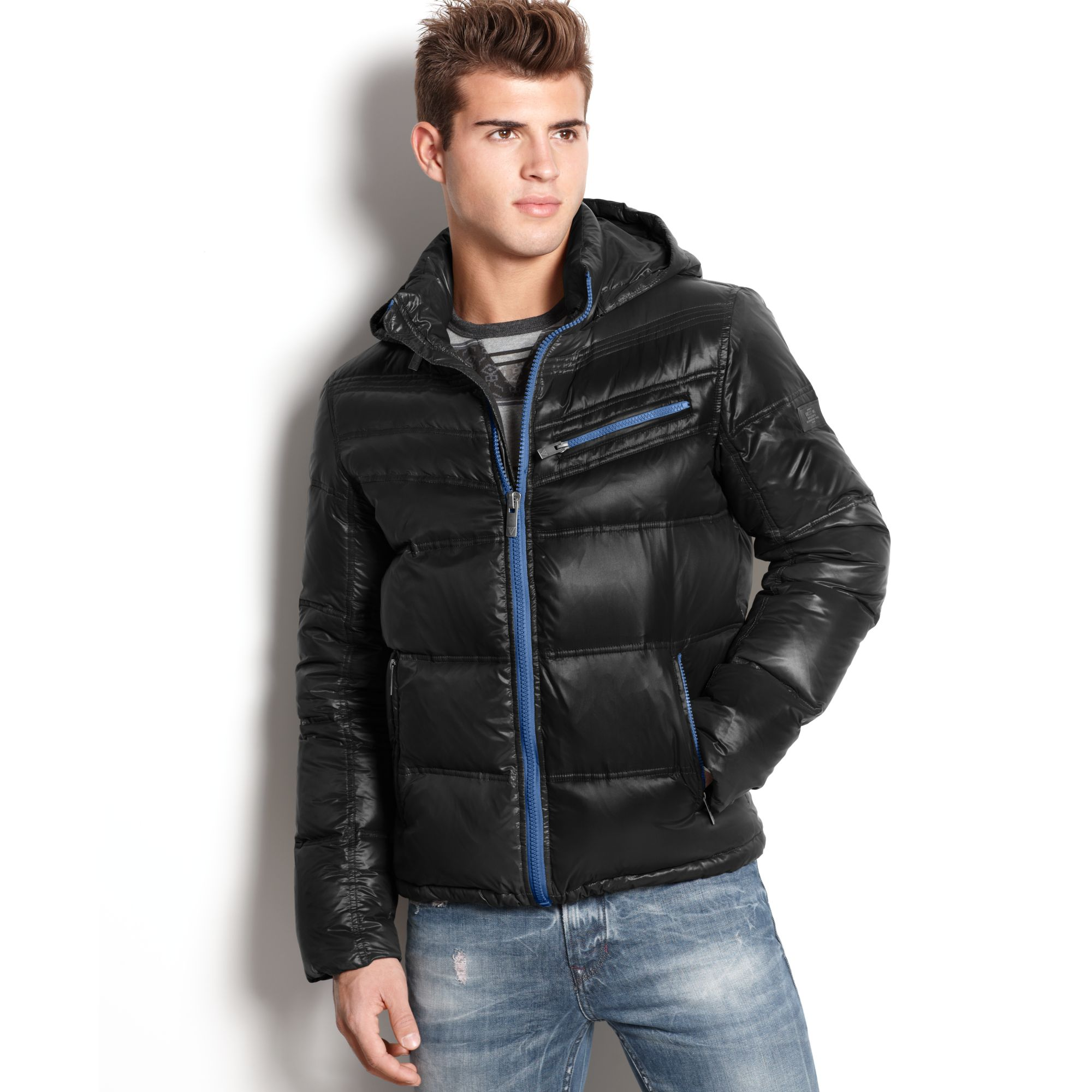 Guess Jacket Chrome Hooded Quilted Puffer In Black For Men