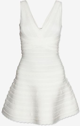 Hervé Léger Scalloped Bandage Tier V Neck Flare Dress White - Lyst