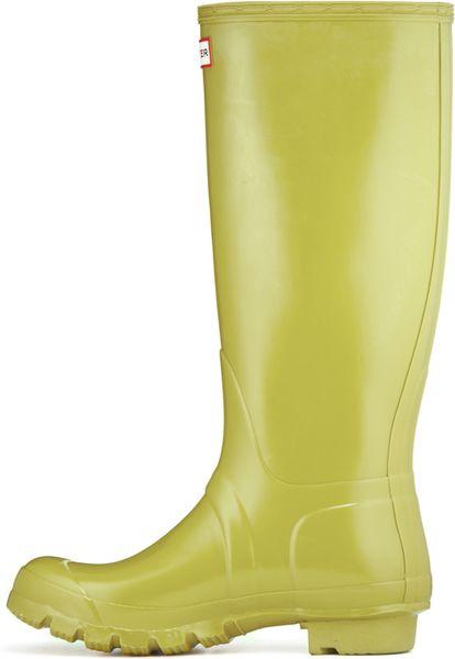 Hunter Original Tall Gloss Rain Boots In Yellow For Men