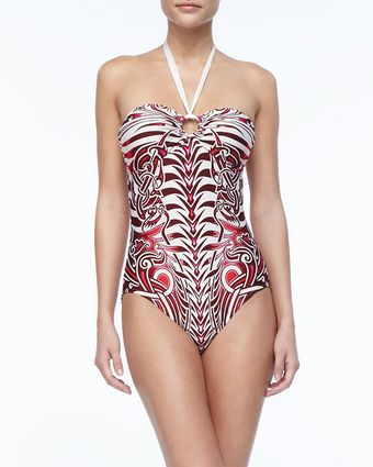 Jean Paul Gaultier Tattoo Print Halter One  Piece Swimsuit - Lyst