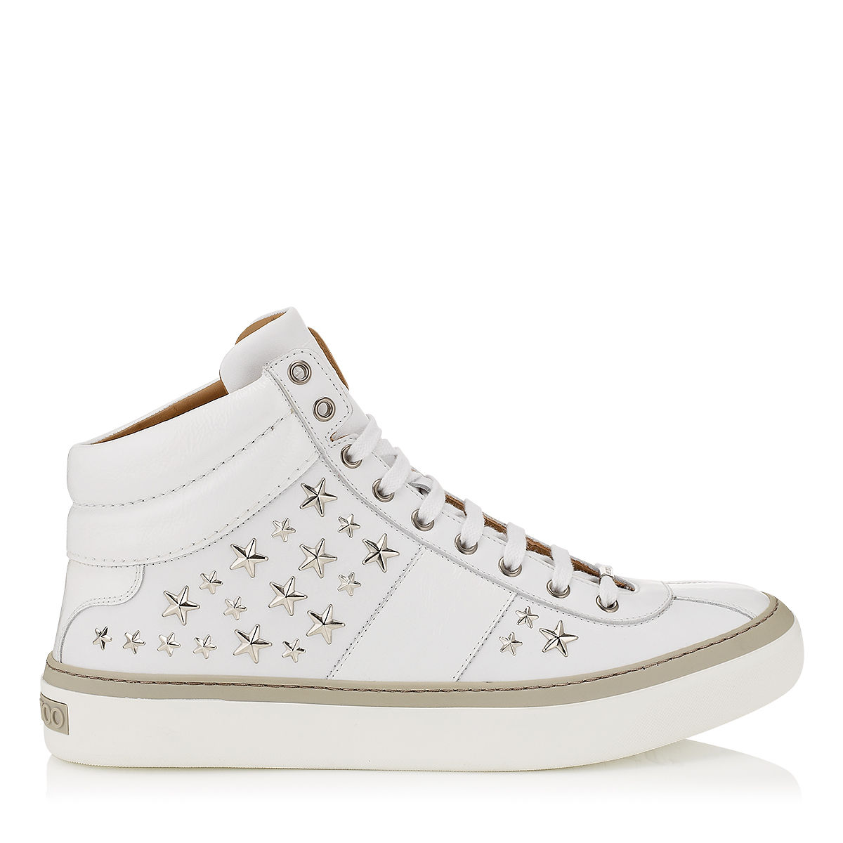 jimmy choo belgravia white nappa sneakers with silver stars in white for men white silver lyst. Black Bedroom Furniture Sets. Home Design Ideas